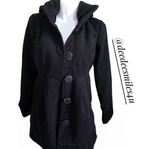Jolt Black Coat with Oversized Hood XL